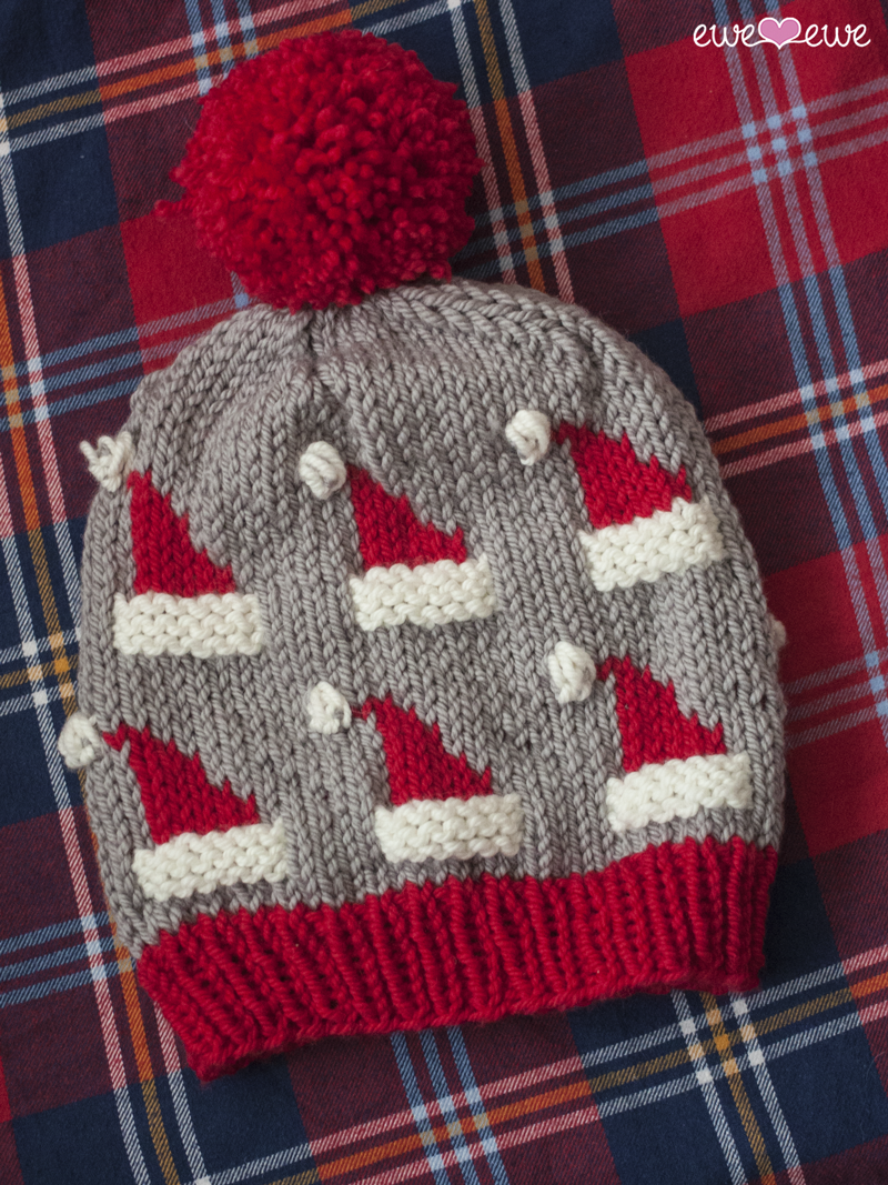 Dancing Santa Hat  pattern using  Ewe Ewe Baa Baa Bulky yarn