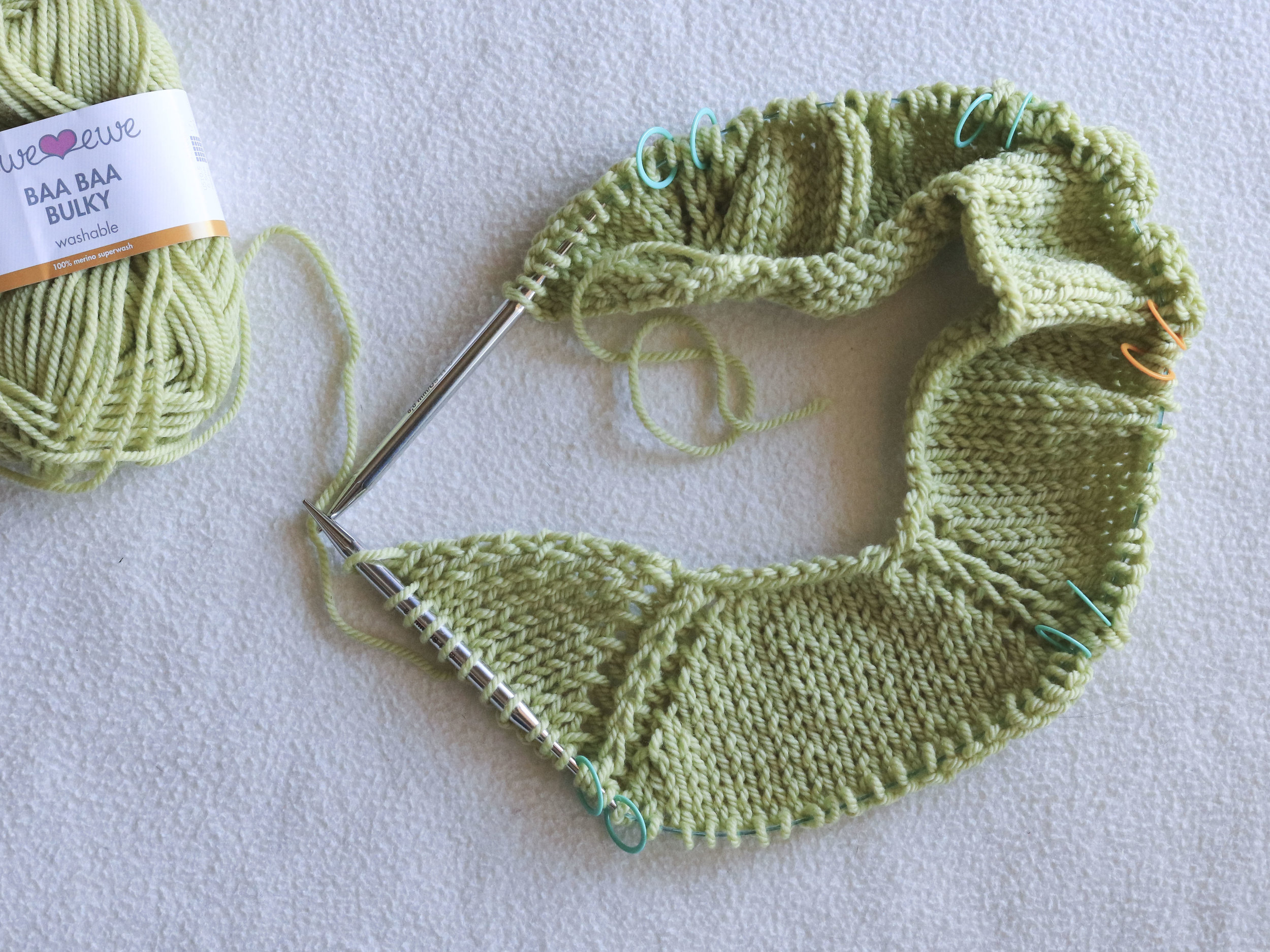 Knitting the neckline of the Ursa sweater in Ewe Ewe Baa Baa Bulky merino yarn.