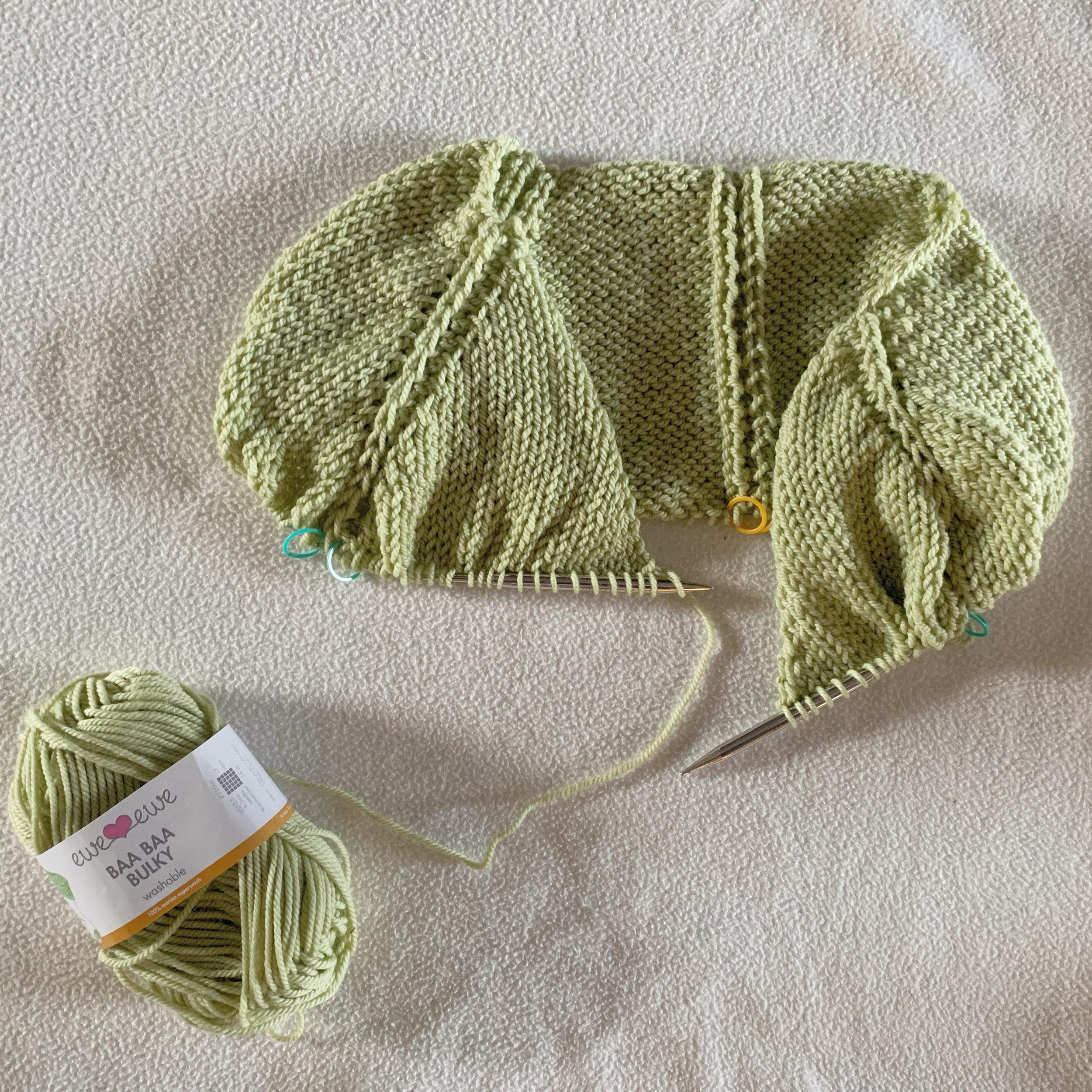 Working on my Ursa sweater in Soft Sage Baa Baa Bulky merino yarn