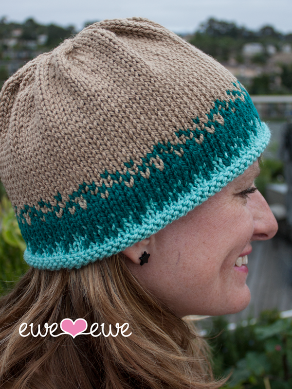 Sand & Sea Hat Knitting Kit using Wooly Worsted merino yarn from Ewe Ewe Yarns