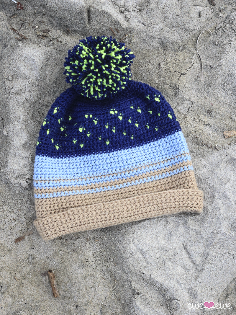 FREE crochet pattern:  Night Surfer beanie  in  Ewe So Sporty yarn  from Ewe Ewe Yarns