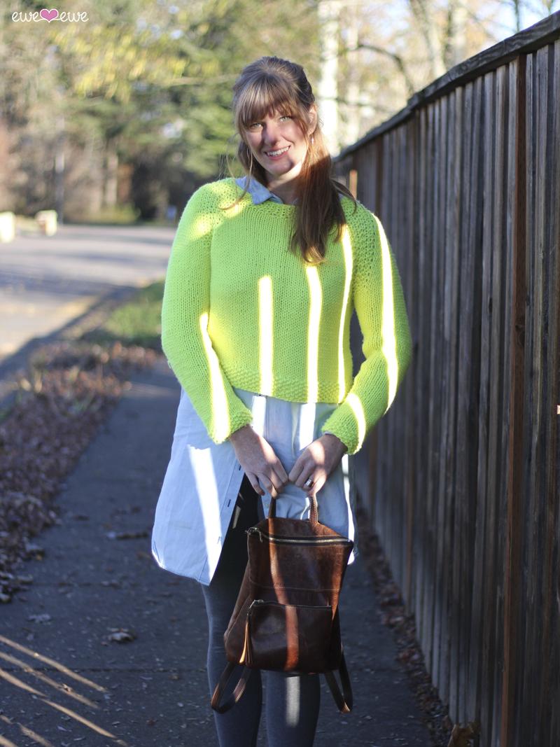 New!  Pop Top  sweater knitting pattern using Baa Baa Bulky yarn from Ewe Ewe