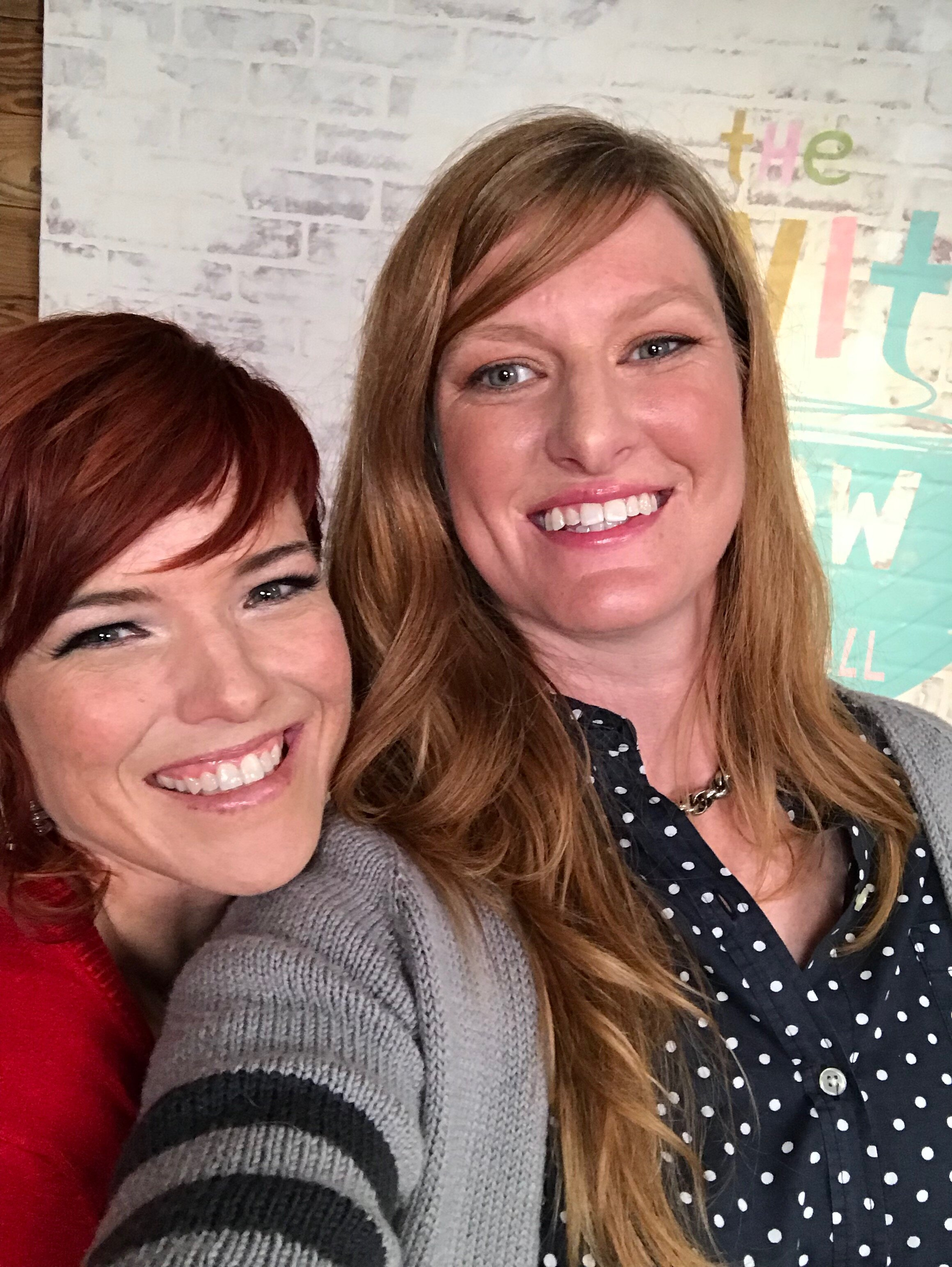 Vickie and Heather on the set of  The Knit Show , July 2017.