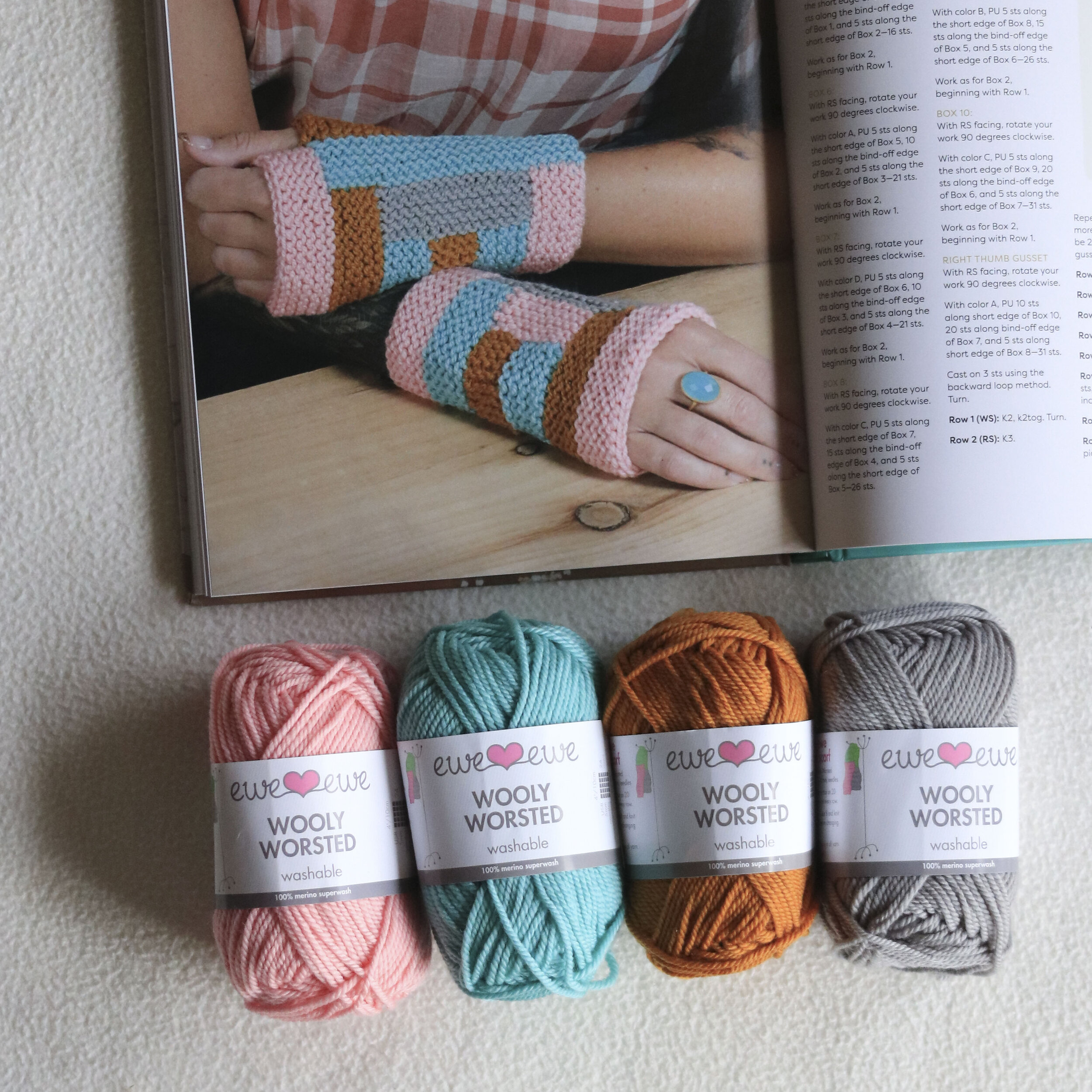 Warme Mitts Wooly Worsted yarn kit from Ewe Ewe Yarns