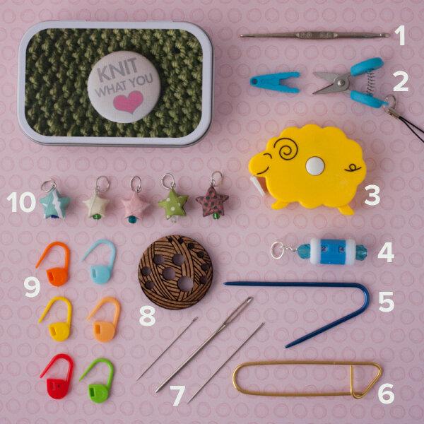What's inside a Knitter's Tool Tin from Ewe Ewe Yarns?
