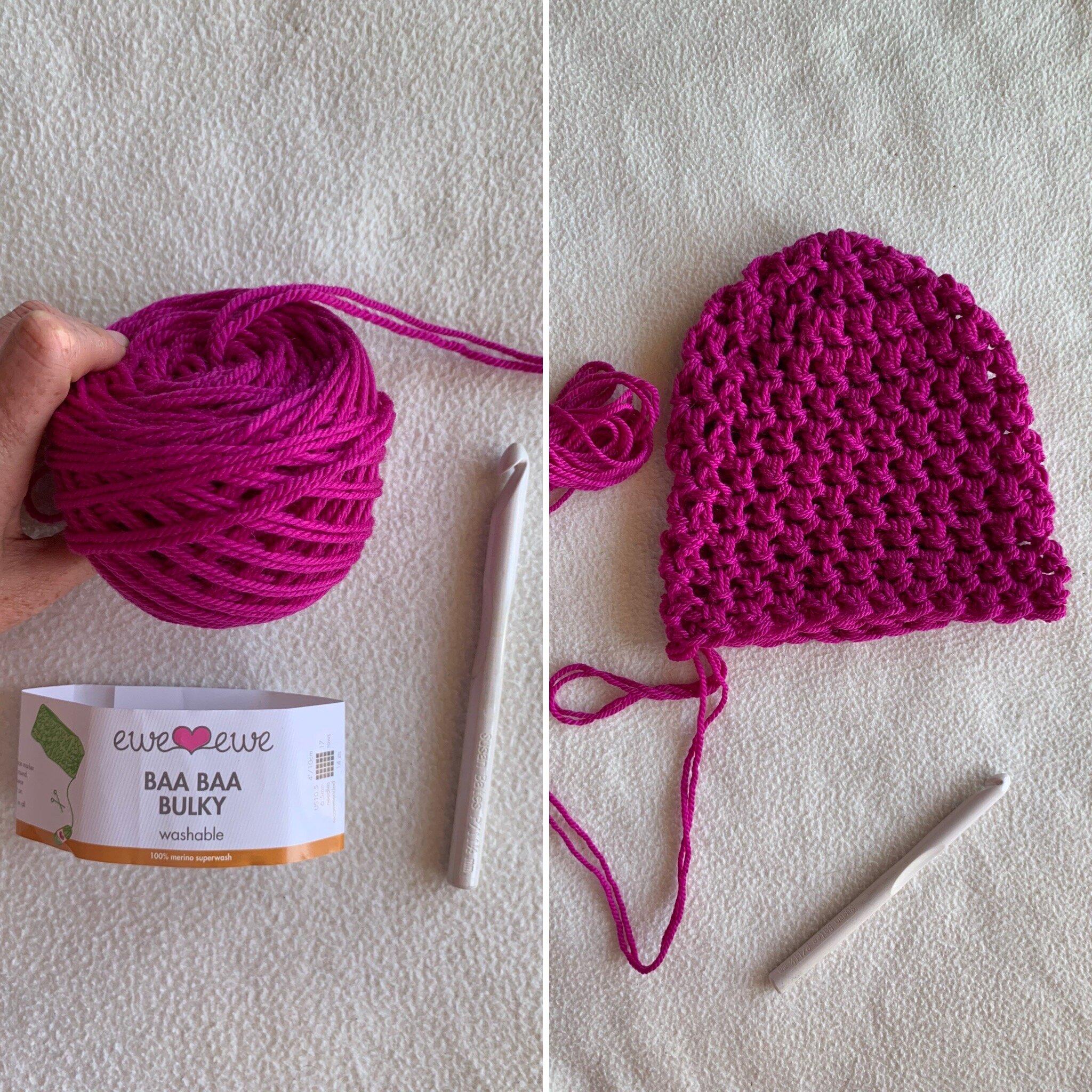 Quick crochet hat using Baa Baa Bulky merino wool yarn held double