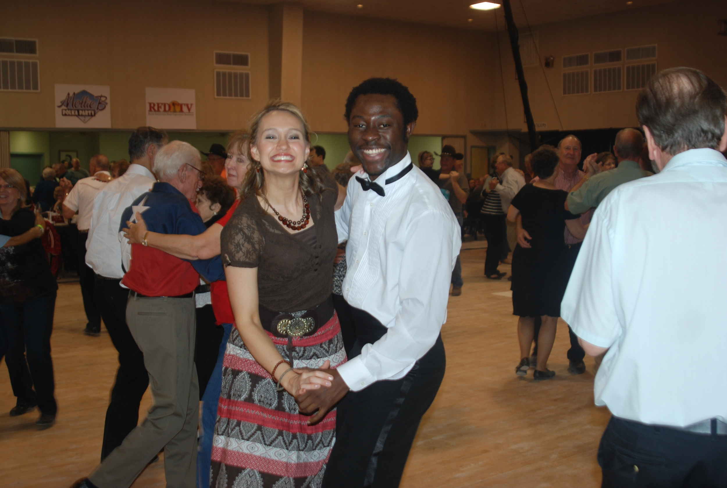 'damilare and Mollie B dancing at the Mollie B Polka Party Ennis, TX - Day 2