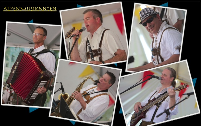 AlpenMusikanten will polka for beer! (L-R clockwise) Alan Walling, Manfred Zehentmayr, Paul Durapau, Wolfgang Lackner, Gordon Strand./Bill Jacomet photos