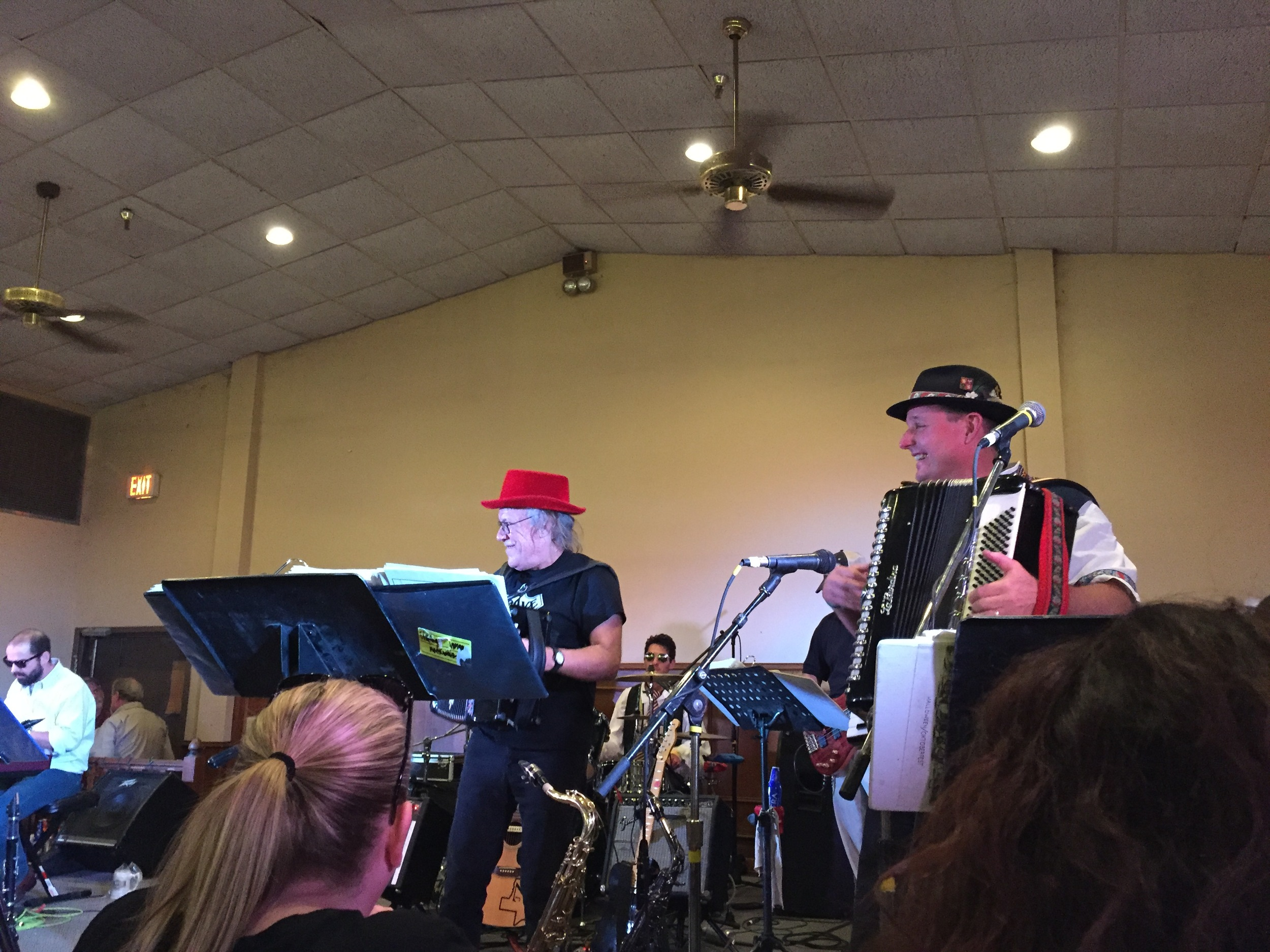 Carl with David Slovak jamming at National Polka Festival, May 2016/Theresa Parker photo