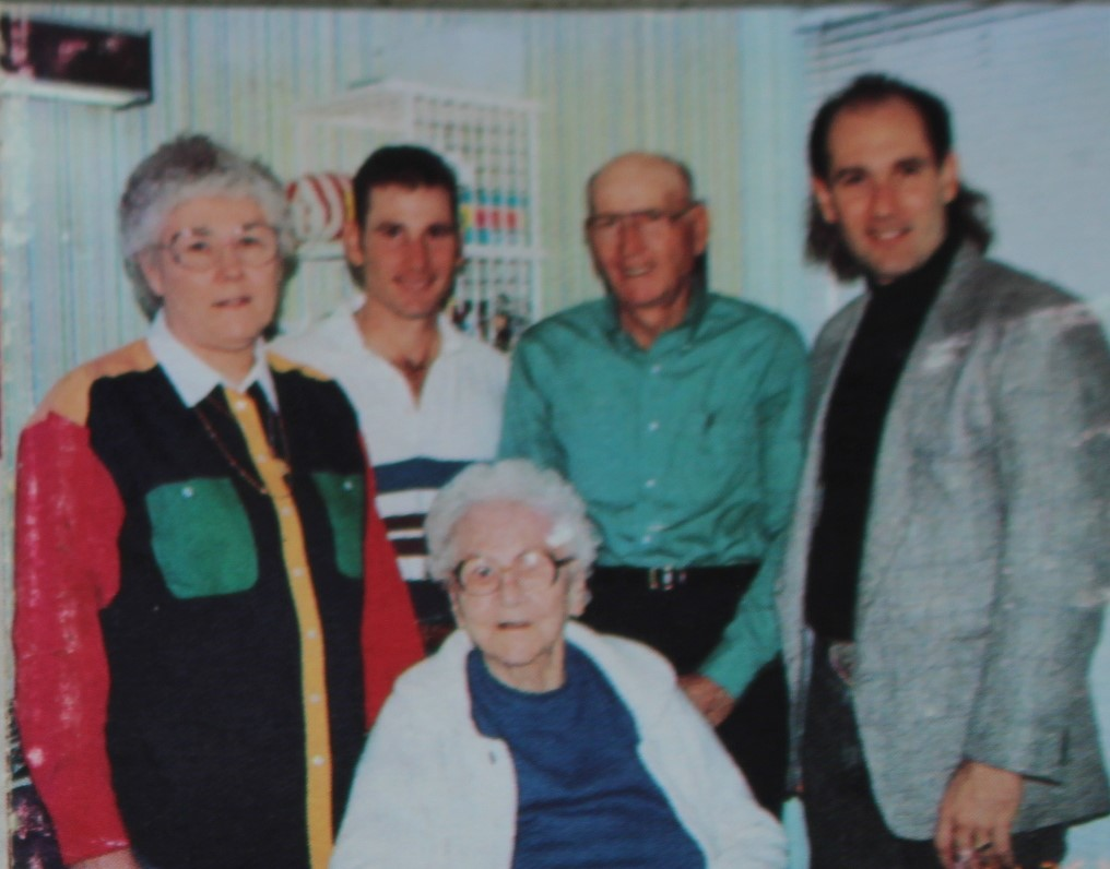 Mark and John with mom and dad and Grandma Brossmann