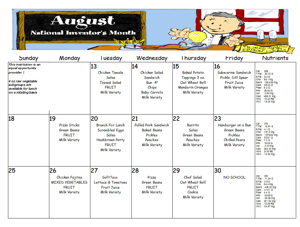 August Lunch Menu, Click menu to see larger view.
