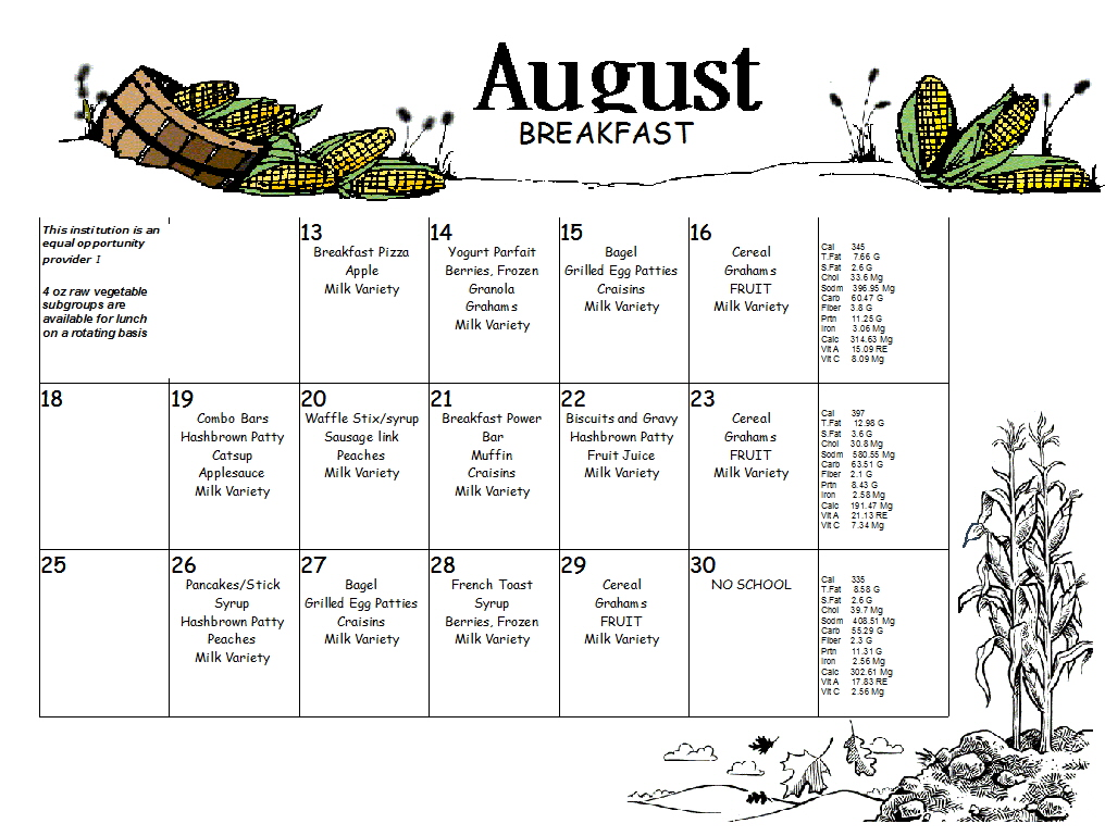August Breakfast Menu, CLICk menu to see larger view.