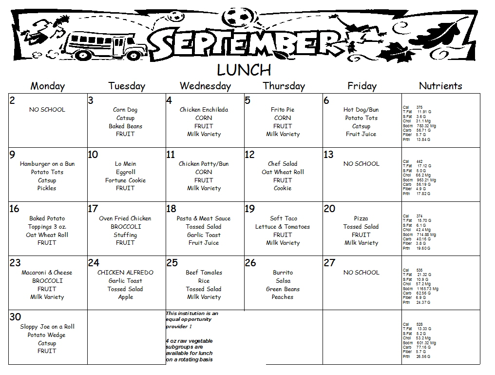 September Lunch, Click menu for larger view