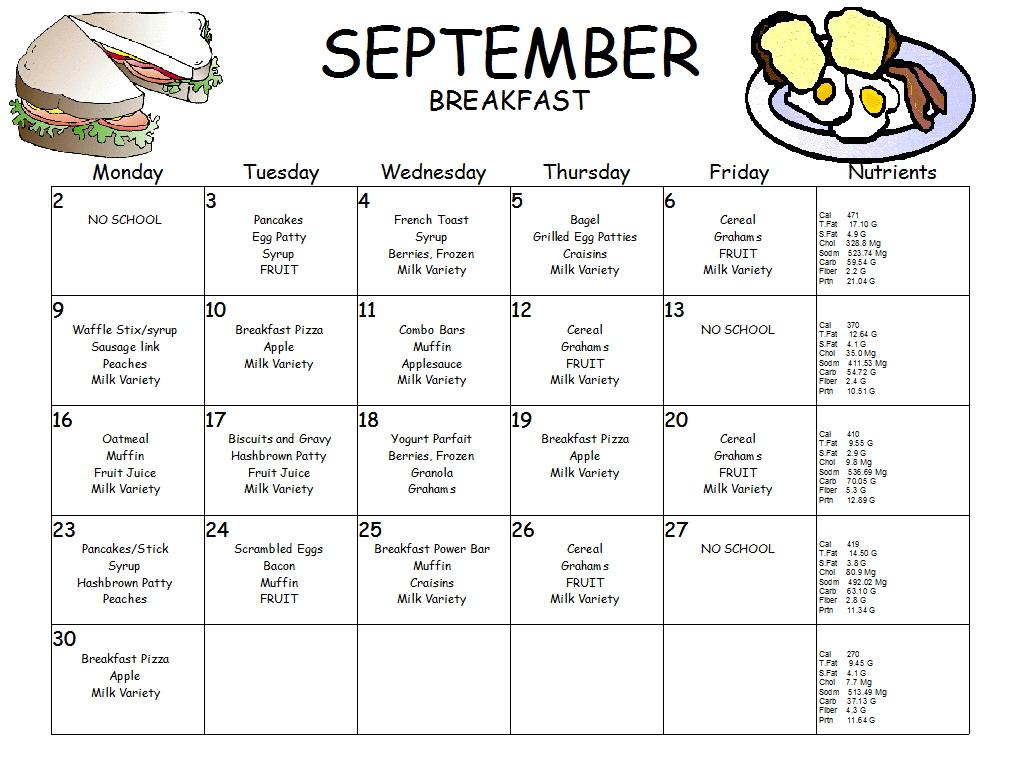 September Breakfast Menu, Click menu to see larger view.