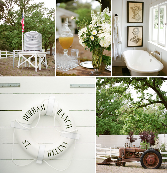 The detail at this venue was impressive: a simple white buoy, an old-fashioned bathtub, and a picturesque tractor.