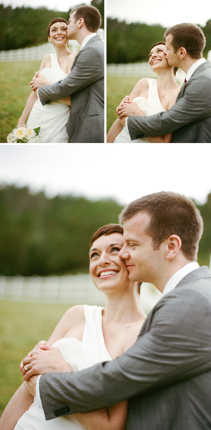 The newlyweds were all smiles and kisses when they snuck off for pictures.