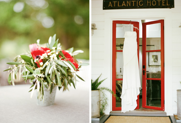 The bride hung her elegant, one-shoulder dress at the french-style door to the Atlantic Hotel. The red windowsill went perfectly with the red white and green flower arrangements present at the tables.