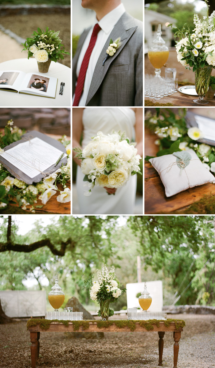 Everything is beautifully arranged, down to the marriage contract displayed on a piece of slate and the perfectly plump pillow holding the wedding bands. Guests are invited to help themselves to refreshments as well as sign the guestbook, an album full of pictures of the bride and groom.