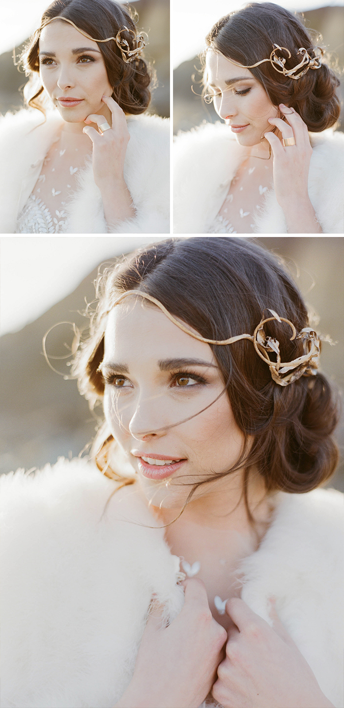 Bride in fur stole, gold hairpiece and ring; Sylvie Gil Photography