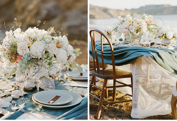 Nautical reception table, draped linens, pastel centerpieces; Sylvie Gil Photography