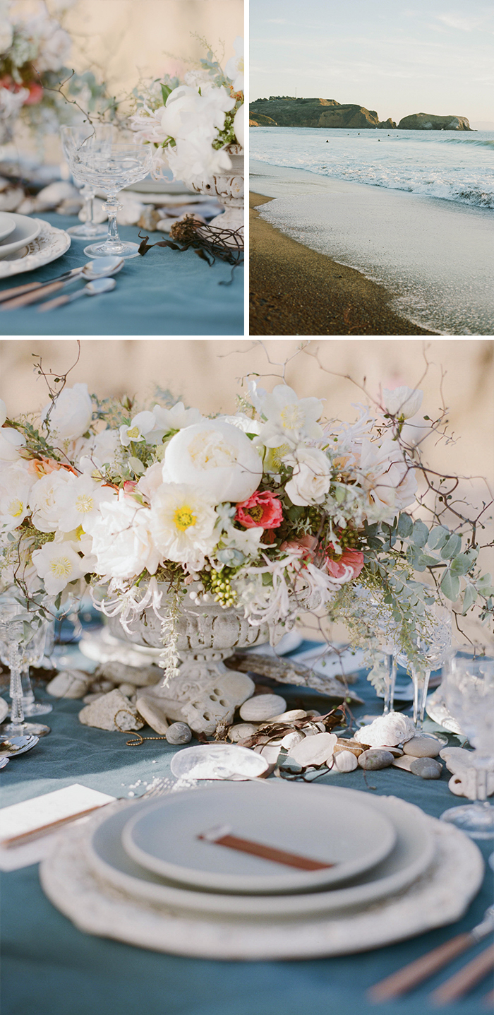 Reception table decorated with seashells and stones, California coast at sunset; Sylvie Gil Photography