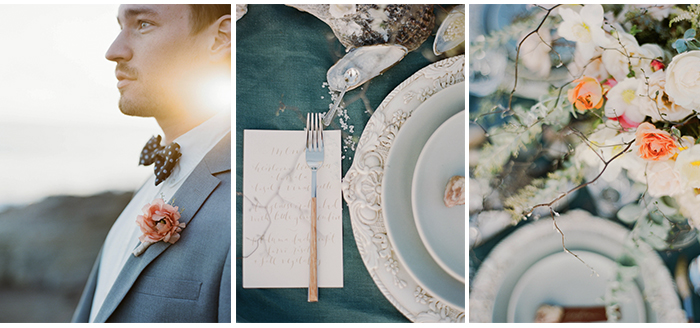 Groom wears bowtie, pastel boutonniere, reception table and settings decorated with seashells; Sylvie Gil Photography