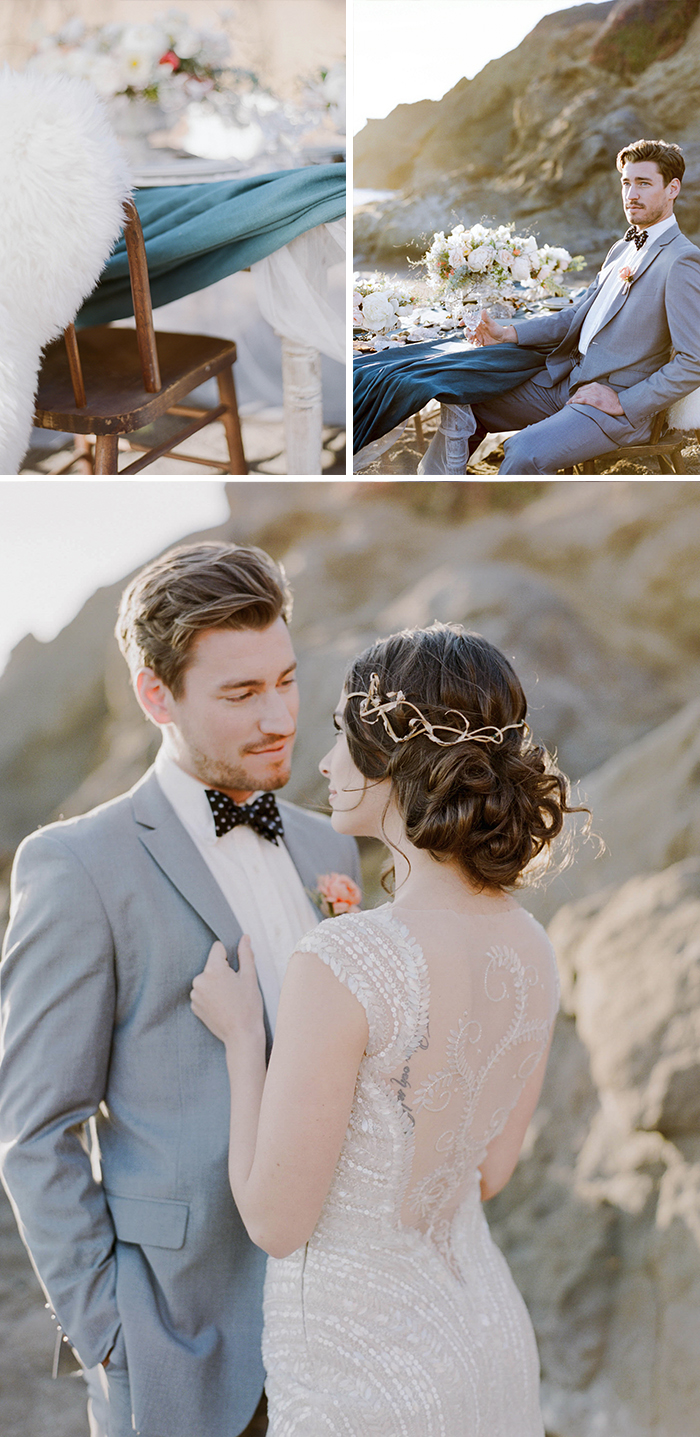 Bride with twisty gold metal hairpiece, couple stands together on California coast; Sylvie Gil Photography
