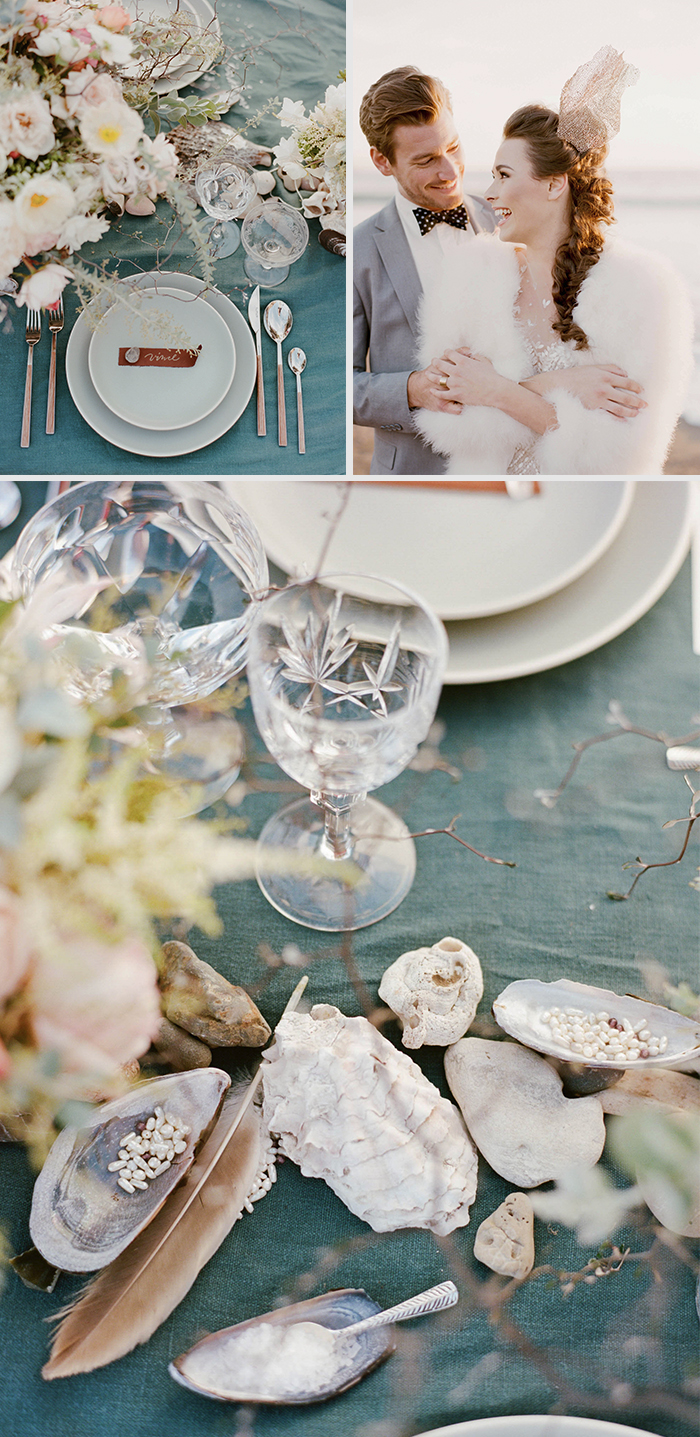 Reception table with teal, sea foam linens, decorated with seashells, feathers, coral, and pearls; Sylvie Gil Photography