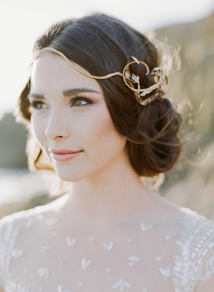 Bride with rustic industrial-chic gold hairpiece; Sylvie Gil Photography