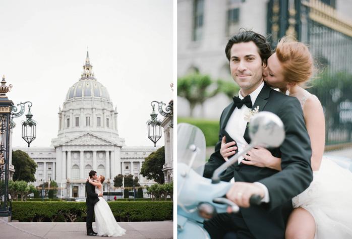 Bride and groom kiss outside San Francisco City Hall wedding; Sylvie Gil Photography