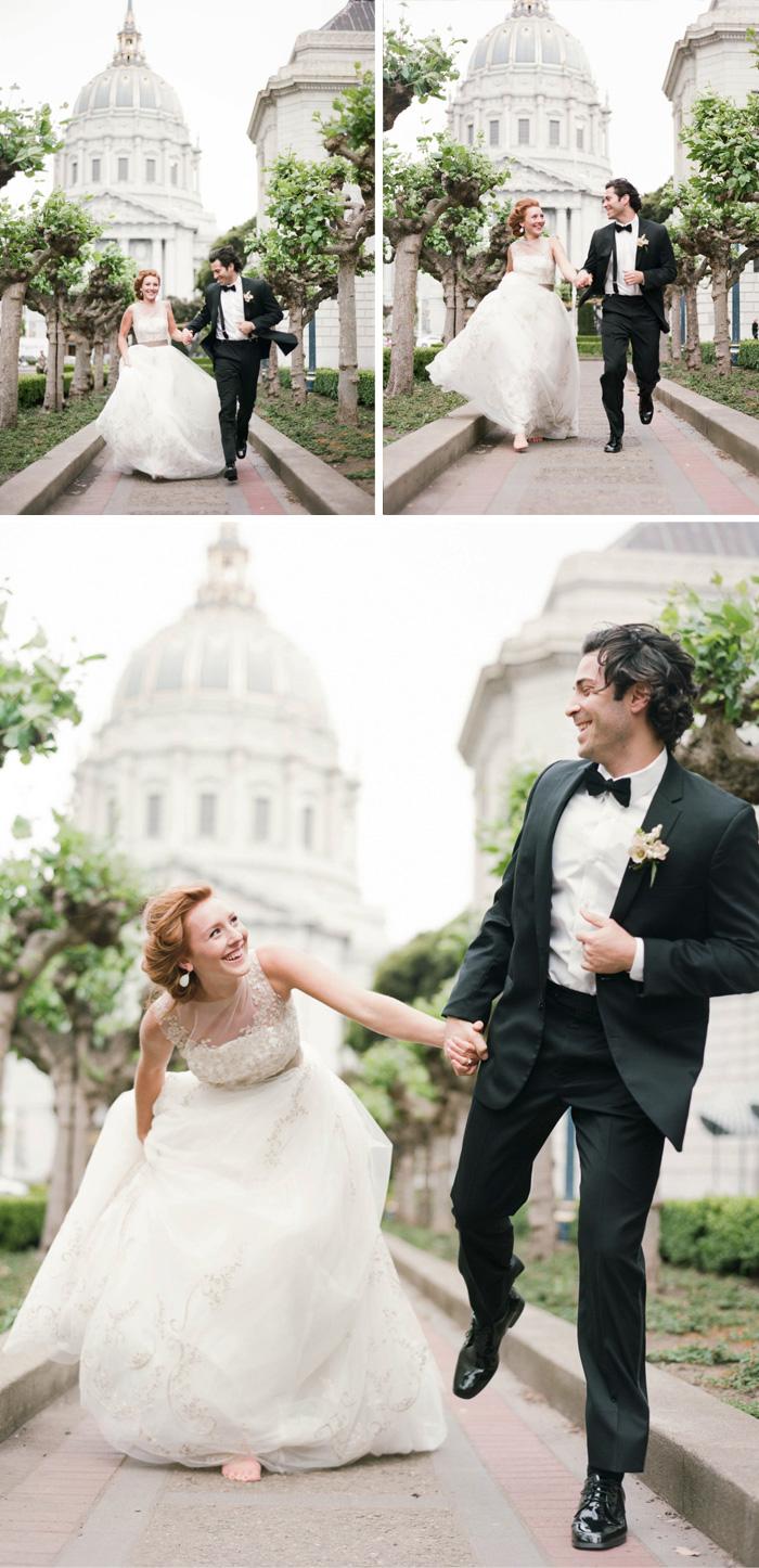 Bride and groom run through the gardens outside San Francisco City Hall; Sylvie Gil Photography