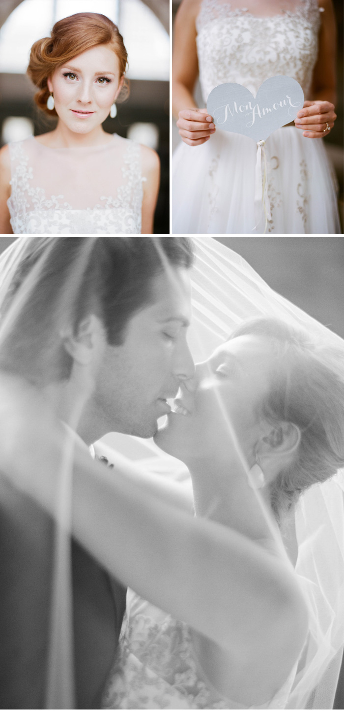 Red-haired bride, couple kisses under bride's veil; Sylvie Gil Photography