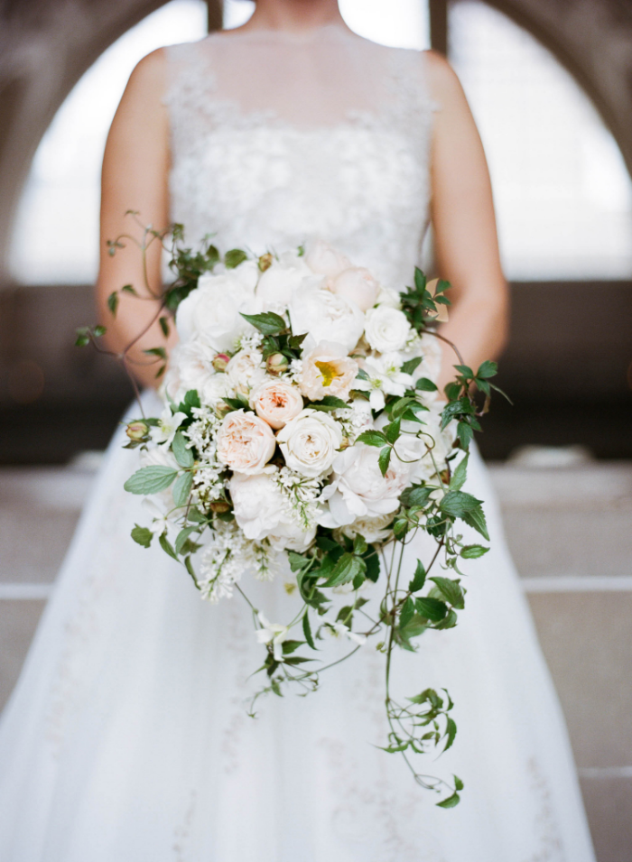 Dusty pink and white peony bridal bouquet; Sylvie Gil Photography