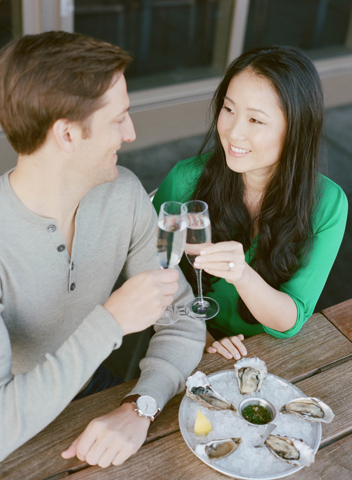 Sylvie-Gil-Engagement-Film-Photography-Session-San-Francisco-Ferry-Building-Oysters-Champagne