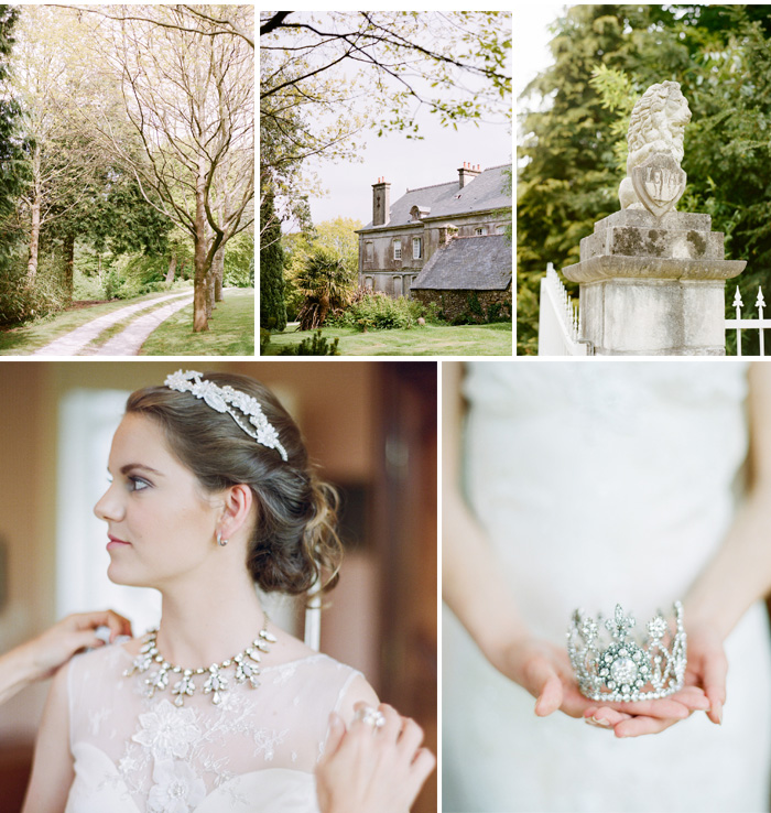 Bride with lace hair accent and tiara, grounds surrounding Normandy chateau; Sylvie Gil Photography