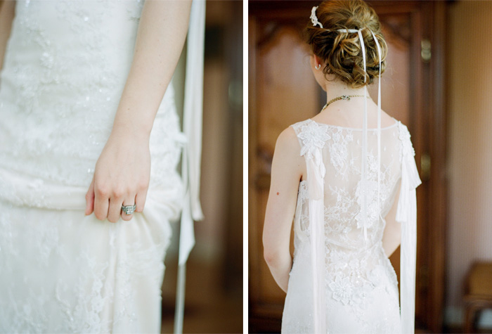 Bride in sheer lace gown with lace hair accent and ribbon;  Sylvie Gil Photography