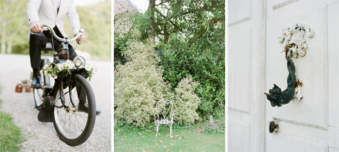 Groom on vintage bicycle, antique lion door knocker; Sylvie Gil Photography
