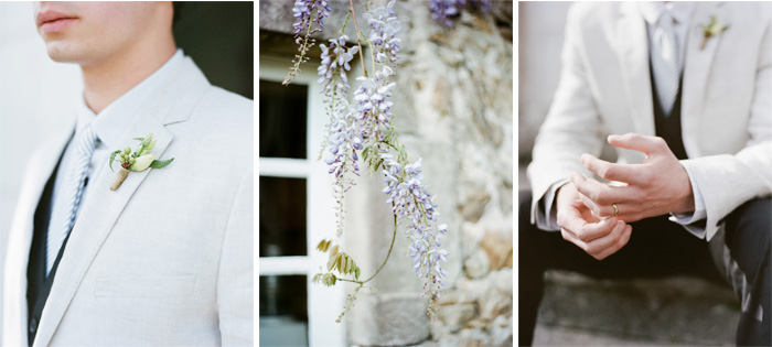 Groom in light grey suit and gingham tie; Sylvie Gil Photography