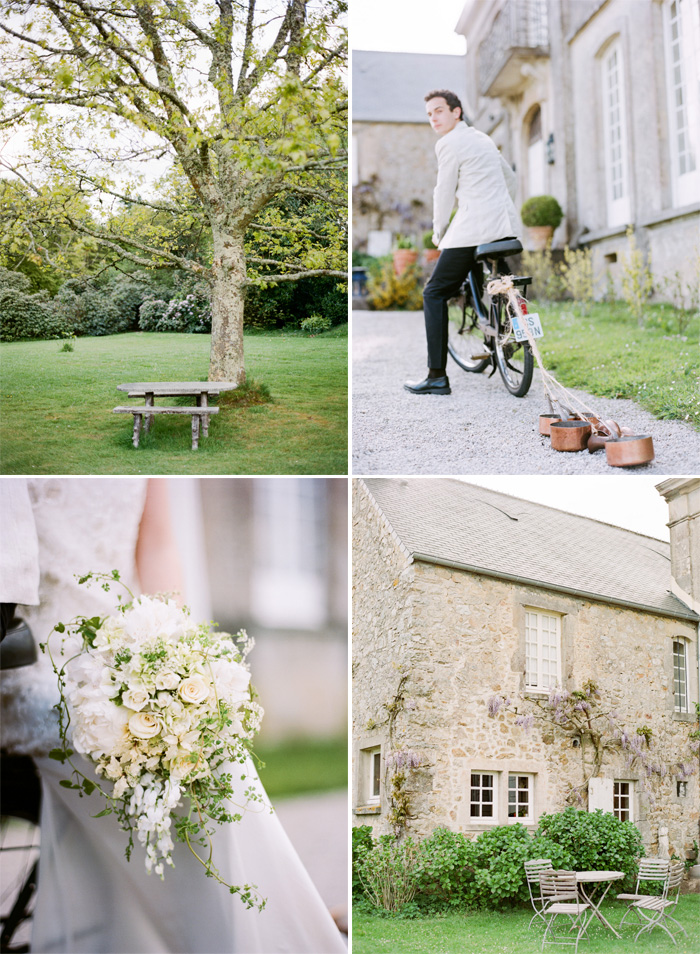 Groom rides vintage bicycle with copper cans tied to back outside Normandy chateau in France; Sylvie Gil Photography