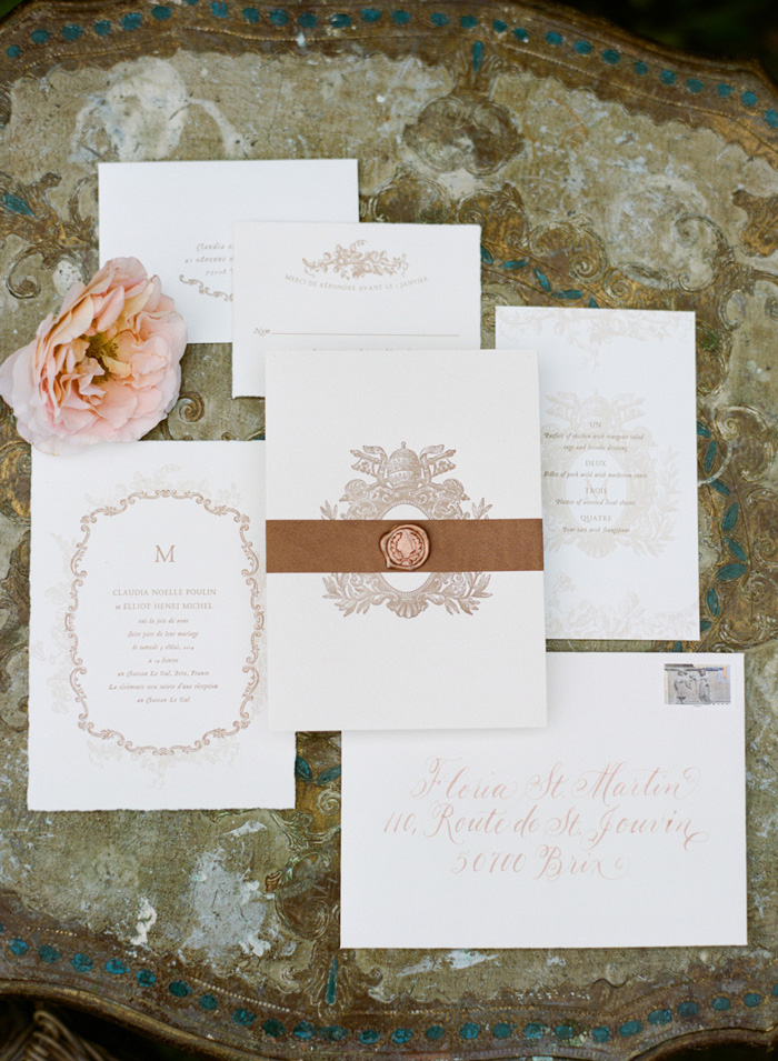 Copper and white invitation suite with elegant calligraphy; Sylvie Gil Photography