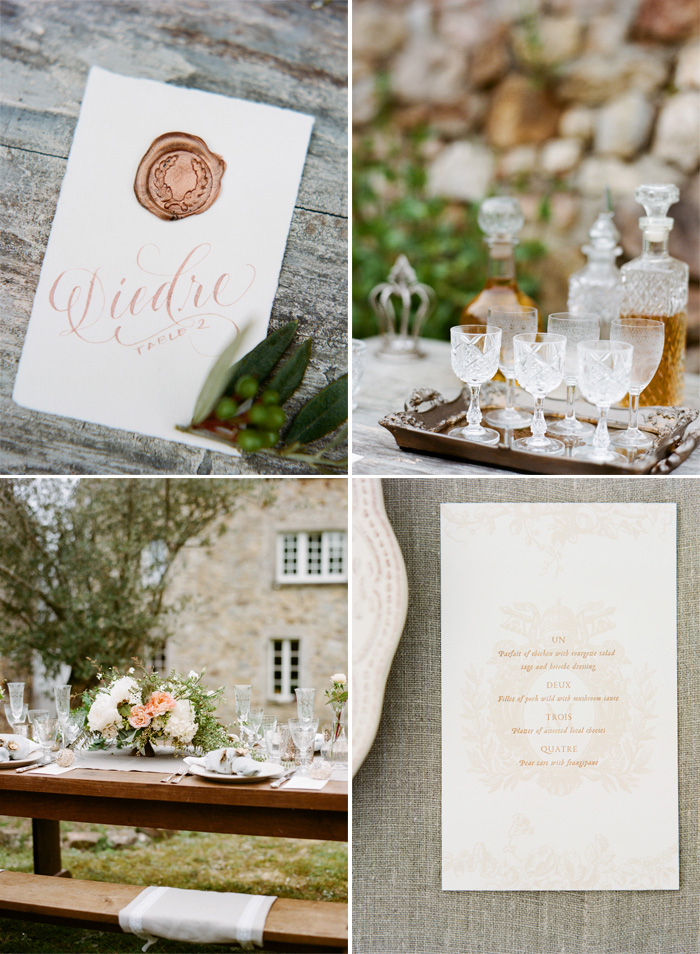Copper sealed placecards and menu card for reception tables, pastel floral centerpieces;  Sylvie Gil Photography