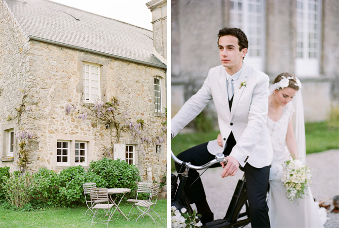 Bride and groom ride away after wedding on a black Solex, picnic table in Normandy chateau garden in France; Sylvie Gil Photography