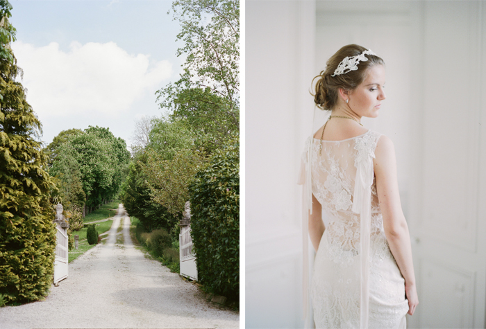 Chateau gravel driveway in Normandy, bride with lace gown and hair accent; Sylvie Gil Photography