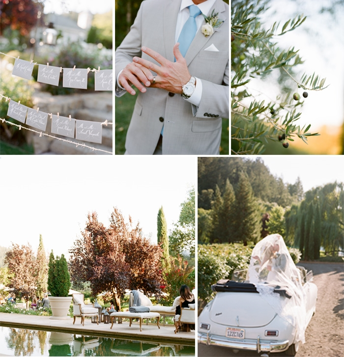 SylvieGIl_Film_Wedding_Photography_Black_Swan_Lake_Napa-Sonoma-California-Packard-Pool-reception-Place-Cards-Outdoor-Cocktails