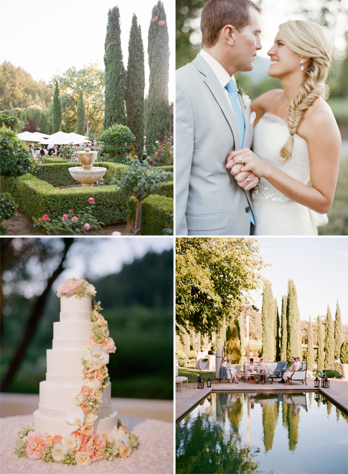 SylvieGIl-Film-Wedding-Photography-Black-Swan-Lake-Napa-Sonoma-California-Outdoor-Rception-Swimming-Pool-Wedding-Cake
