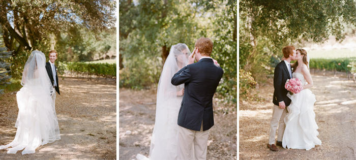 Sylvie-Gil-Film-Wedding-Photography-Napa-pink bouquet-wedding gown- destination-vineyard
