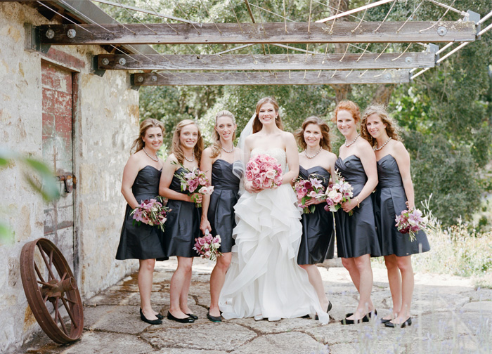 Sylvie-Gil-Film-Wedding-Photography-Napa-pink bouquet-wedding gown- bridesmaids- wedding band-destination-vineyard