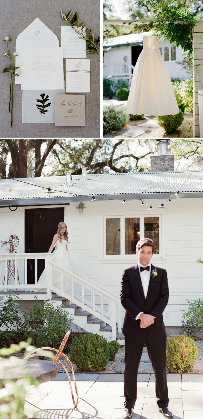 Calligraphed invitation suite, bride's dress hangs from a tree, bride and groom's first look; Sylvie Gil Photography