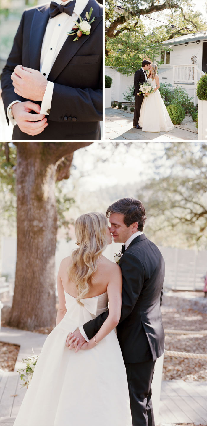 Groom's tuxedo and boutonniere, bride and groom kiss holding hands; Sylvie Gil Photography