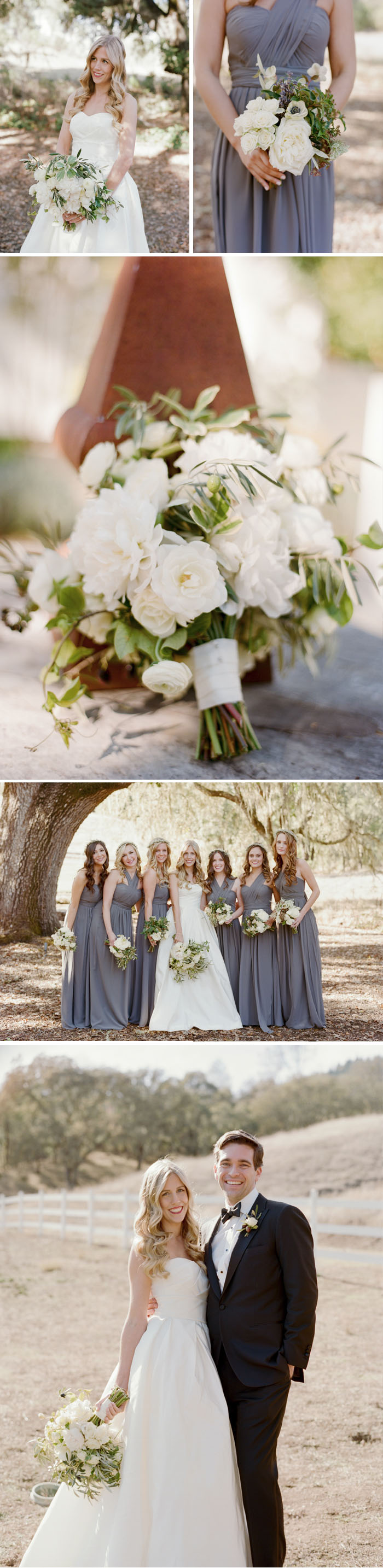 Bride and bridesmaid olive and white bouquets, bride and groom stand in a pasture; Sylvie Gil Photography